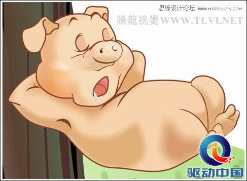 coreldraw绘制可爱的泡泡猪卡通插画(2)