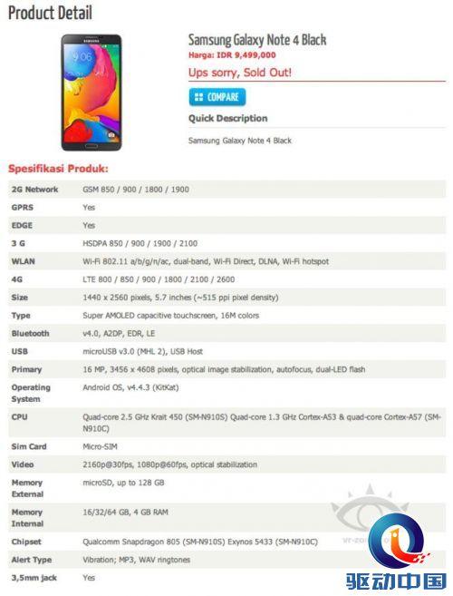 Samsung GALAXY Note 4 网路商店