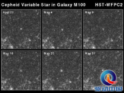 (图片中央的亮点),可见它的亮度在随时间变化-哈勃七大科学发现