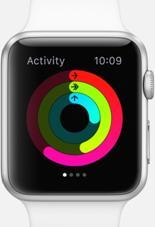 """说明: 少坐,多动,常锻炼。通过简洁的图表,Activity app 可以展现你的日常运动量,三个圆环就能告诉你所需知道的一切。''Move'' 圆环显示你今天消耗了多少卡路里;''Exercise'' 圆环显示你完成了多少分钟的健身;而 """"Stand"""" 圆环则显示你站起身来的频率。你的目标就是:每天,让每个圆环都圆满。"""