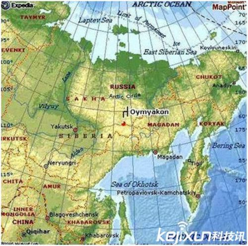 在亚洲的地图上,奥伊米亚康(oymyakon)的村庄就在地图位置的正中央