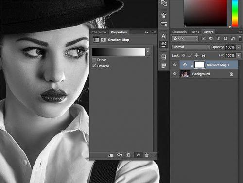PS教你如何调出黑白惊悚超酷女枪手图片