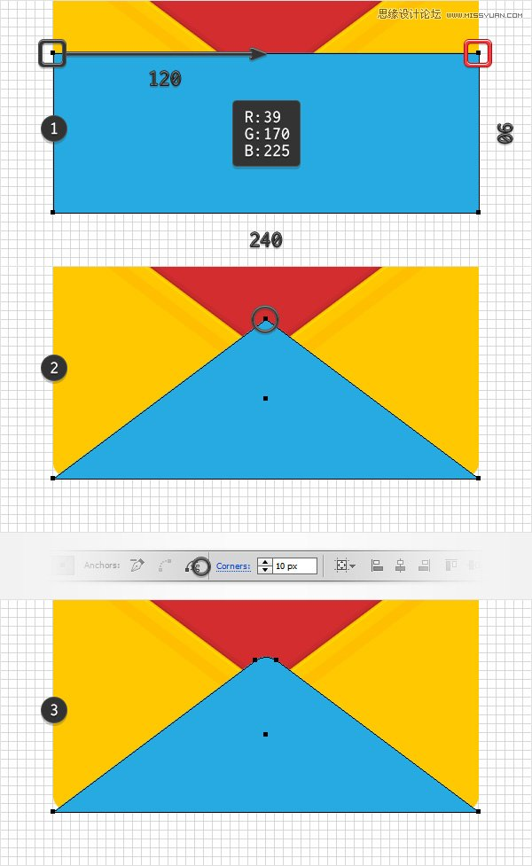 illustrator如何绘制立体风格的红色信封图标(2)