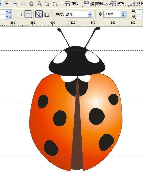 coreldraw绘制漂亮的七星瓢虫的详细步骤