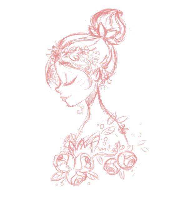 ps如何鼠绘鲜花装饰的卡通女孩头像照片