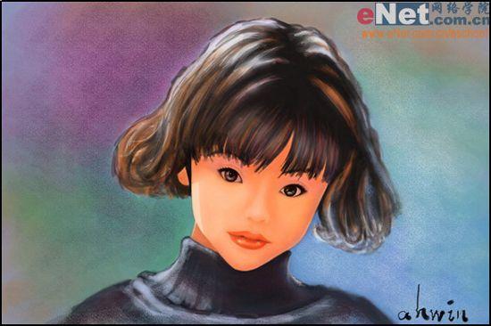 以后的小_下面是我们完成以后的小女孩水彩素描照片效果图