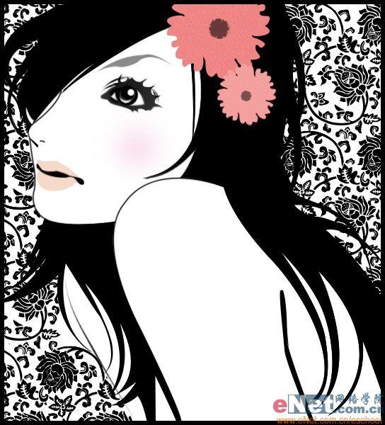 ps如何鼠绘黑白色彩的靓丽时尚美女插画