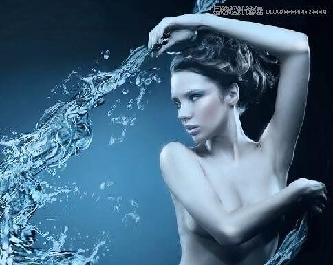 ps如何合成蓝色创意美人鱼海报图片