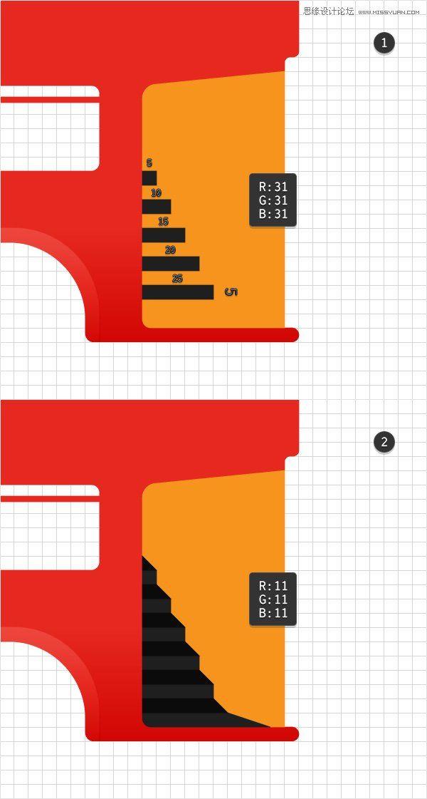 illustrator如何绘制细节丰富的红色大巴车图标(3)