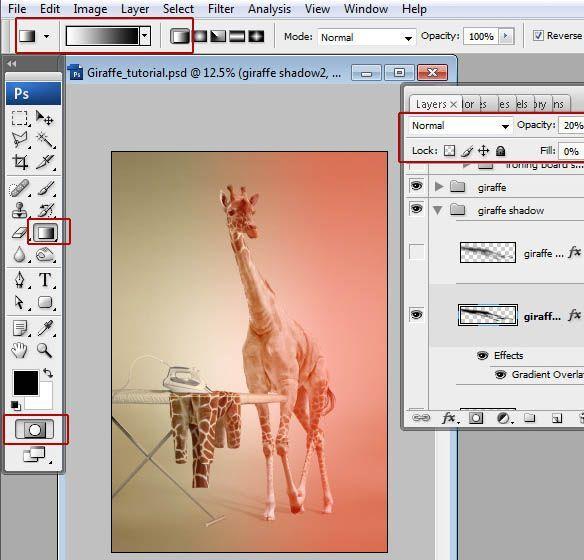 ps怎样合成长颈鹿烫衣服的创意图片(2)