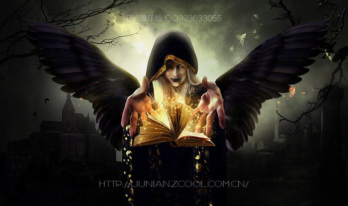 ps合成恐怖魔法黑天使图片的方法与步骤(2)