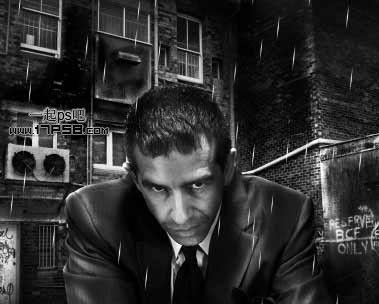 ps如何合成黑白淋雨效果的冷酷男生照片(2)