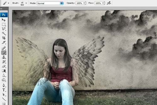 ps如何把墙壁图片合成天使壁画图片