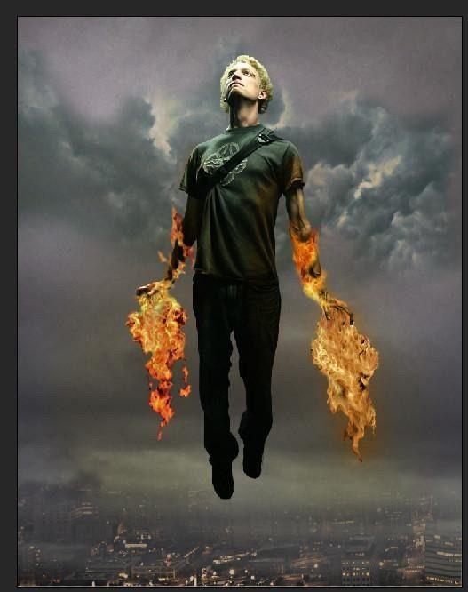 photoshop如何合成会喷火飞行的超人图片(2)