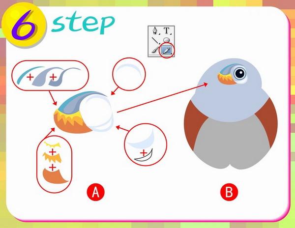 第七步:这一步做山雀的嘴部分,先使用铅笔工具进行图A分布图形的外形绘制,再使用工具箱中的渐变工具进行填色,(注意渐变颜色的调整在窗口中的渐变专用面板)完成效果如图B所示。  第八步:再次使用美术刀工具,按图中A部分所示的虚线进行裁剪操作,(注意有两个颜色的虚线按12的顺序走)操作目的是做出头与身体、嘴下面的阴影;完成效果如图B所示。  第九步:先用铅笔工具归纳出山雀兄前的花纹图形,再使用工具箱中的混合工具做条色,这里的混合步骤是3(混合是先确定最亮色和最暗色后使用生成中间色的工具),完成效果如图B所示。