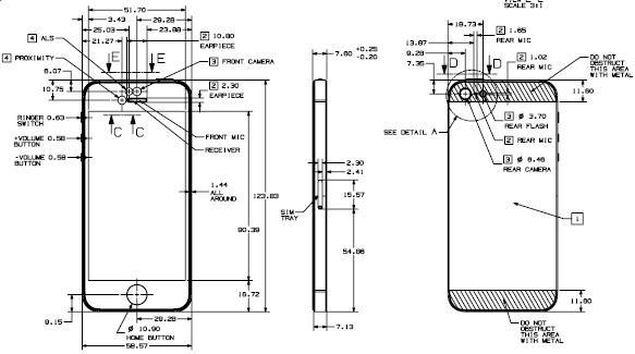 苹果官方公布iphone5设计图纸