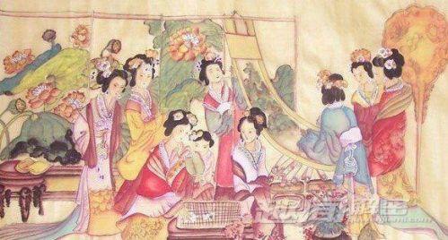 手绘古代女子怀孕图片