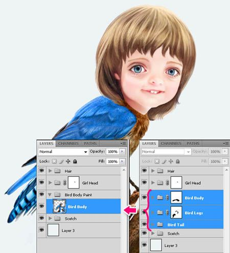 ps合成奇幻可爱卡通飞鸟人像图片的详细步骤(3)