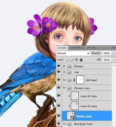 ps合成奇幻可爱卡通飞鸟人像图片的详细步骤