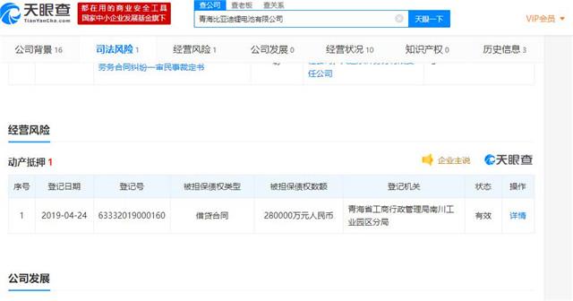 比亚迪锂电池有限公司新增动产抵押,债权数额为28亿人民币