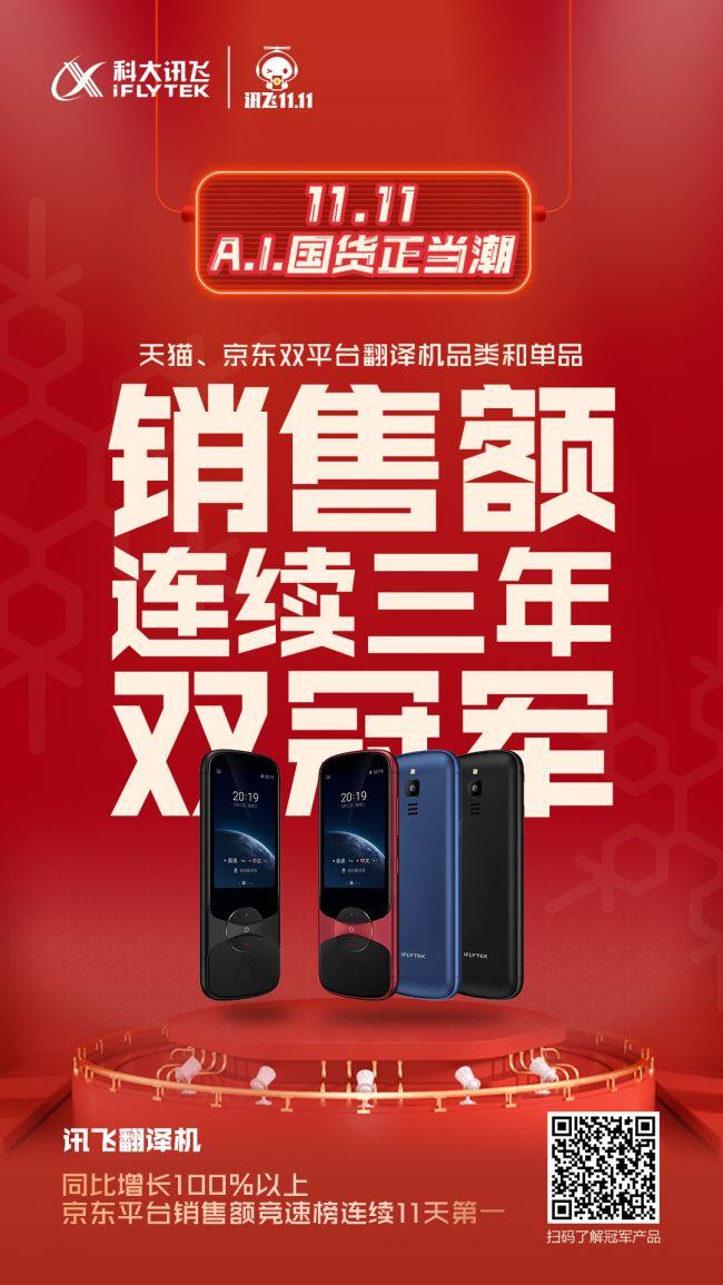 双11讯飞消费者产品拿下6大品类6组冠军,翻译、转写产品赛道高速增长