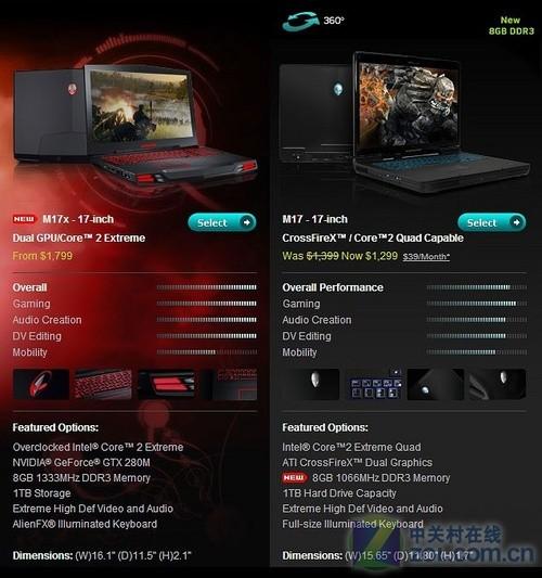 戴尔/新款M17x可以自由选择不同的硬件配置...