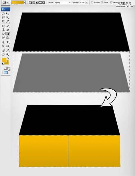 然后新建立一个图层,填充颜色如下所示.-Photoshop制作一个立体